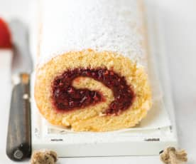 Torta com doce de framboesa