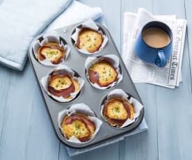 Prosciutto and basil egg cups