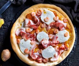 Pizza Gourmet con mozzarella di bufala e composta di pere e zenzero