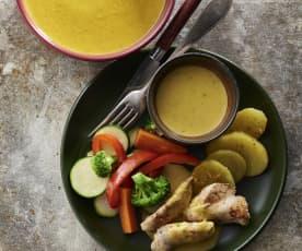 Menü mit Gemüsevelouté, Hühnchen mit Senfsauce und gedämpftem Gemüse