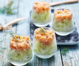 Verrine apéritive concombre, pomme et saumon fumé