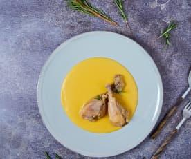 Pollo alla birra a Cottura Lenta con purè di zucca e patate