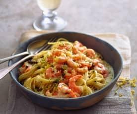 Espaguetis con gambones a la pimienta