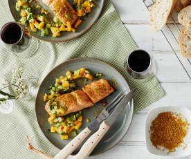 Gegrillter Lachs mit Currysalz