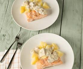 Salmón con salsa de champiñones y patatas