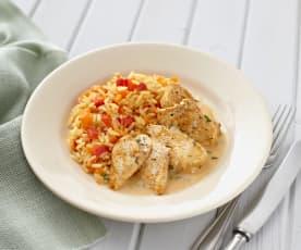 Hähnchen mit Paprika-Möhren-Reis und Schnittlauchsauce