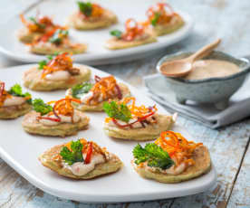 Mussel fritters with chilli mayonnaise