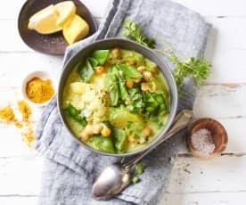 Bramborovo-cizrnová polévka s kari