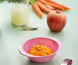 Puré de zanahoria y manzana con pollo