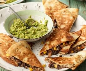 Black Bean Quesadillas with Guacamole