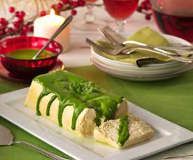 Pastel de espárragos blancos con salsa de espinacas