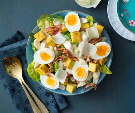 Warm Caesar salad with polenta croutons