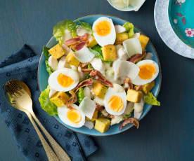Warm Caesar salad with polenta croutons