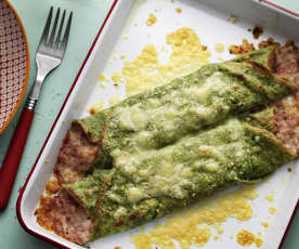 Green Pancakes with Ham and Cheese