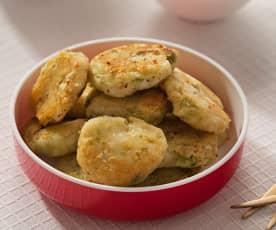 Minifishcakes de bacalao con guisantes