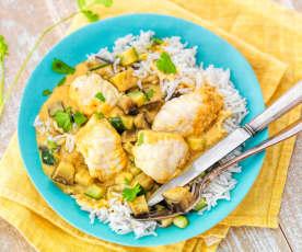 Curry de lotte au lait de coco et petits légumes