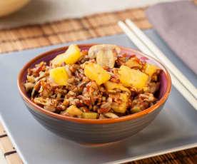 Riso rosso con funghi, totani e ananas (senza glutine)