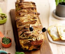 Pane a strati con pesto al basilico