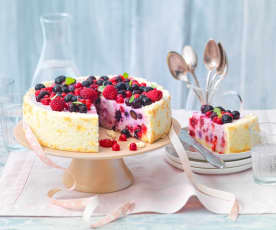 Charlotte aux fruits rouges, sans sucre et allégée en gras