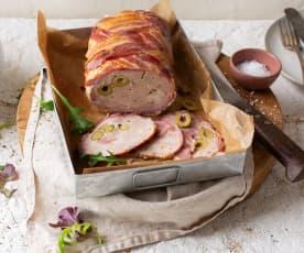 Rollo tres carnes con trenzado de beicon caramelizado