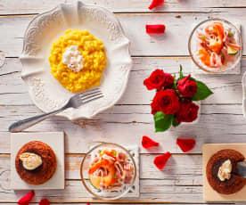 Menù: Risotto zafferano e burrata, insalata di mare e tortino al cioccolato con cuore morbido (Bimby Friend)