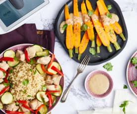 Poulet, riz aux épices et salade de carotte tiède