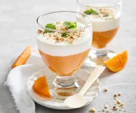 Crema allo yogurt e gelatina ai cachi