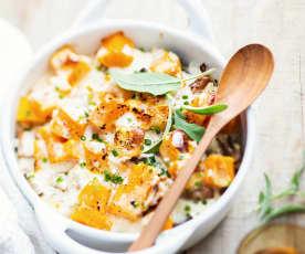 Gratin d'automne au merlan, sauce citronnée