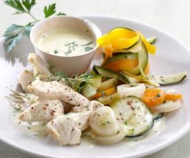 Poulet vapeur, tagliatelles et velouté de légumes (Simplicité)