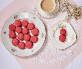 Strawberry and rose water macarons