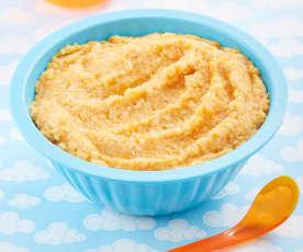 Papilla de garbanzo, arroz integral y zanahoria