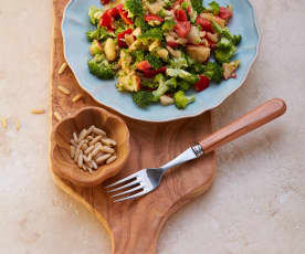 Broccoli Salad with Red Peppers and Pine Nuts