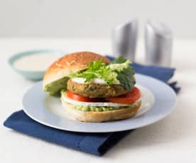 Lentil and chickpea burger with tahini dressing