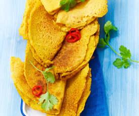 Crêpes indiennes à la farine de pois chiches