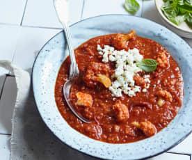 Tomaten-Bulgur-Suppe mit Blumenkohl