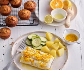 Cabillaud au beurre d'agrumes - Muffins aux pépites de chocolat