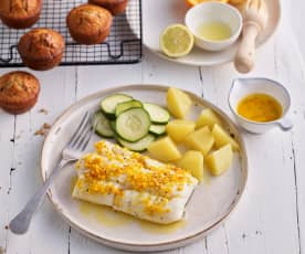 Cod with Citrus Butter; Warm Chocolate Chip Muffins