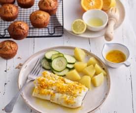 Filety z dorsza z masłem cytrusowym; Muffinki z czekoladą