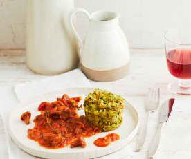Tassenknödel mit Tomaten-Pfifferling-Ragout