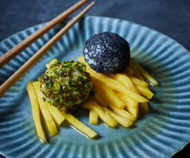 Mochis auf Mangosalat Dessert