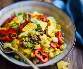Mais-Salat mit Hackfleisch und Avocado