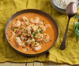 Estofado de pescado y marisco con leche de coco y arroz