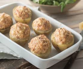 Patatas rellenas de jamón y gambas