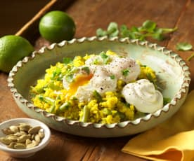 Koriander-Kardamomreis mit verlorenen Eiern