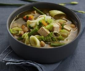 Soupe aux choux et au tofu