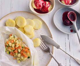Menú: Papillote de rodaballo con verduras. Helado con salsa de frutos rojos