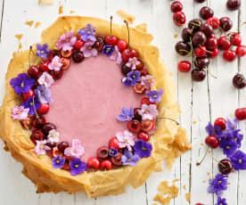 Tarte de verão com mousse de cereja
