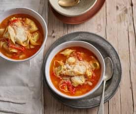 Sopa de feijão-branco e tortellini