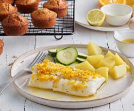 Menú: Bacalao con mantequilla de cítricos. Muffins con chips de chocolate