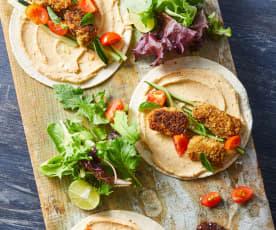 Tacos de pescado empanizado sin gluten